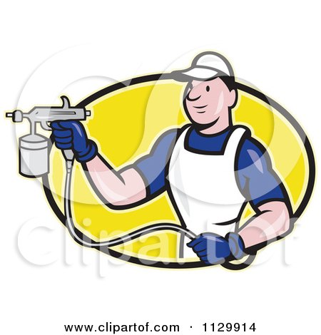Clipart Cartoon Of A Retro Spray Painter Worker On A Yellow Oval - Royalty Free Vector Illustration by patrimonio