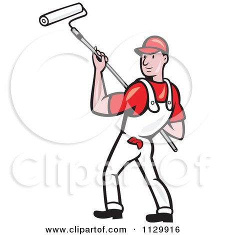 Clipart Cartoon Of A Retro House Painter Worker Using A Roller - Royalty Free Vector Illustration by patrimonio