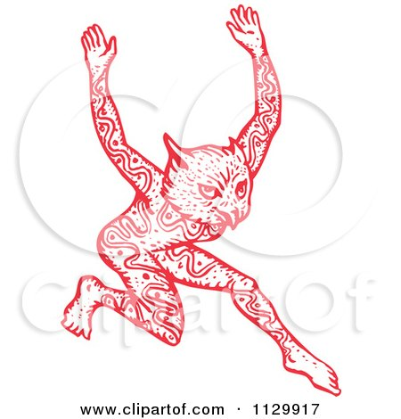 Clipart Of A Red Dancing Tattooed Owl Man Fantasy Creature - Royalty Free Vector Illustration by patrimonio