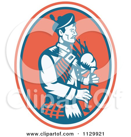 Clipart Of A Retro Scottish Bagpipe Man In An Oval - Royalty Free Vector Illustration by patrimonio