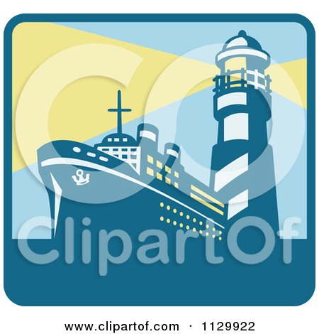 Clipart Of A Cargo Ship And With Lighthouse With Beacon Lights Square Icon - Royalty Free Vector Illustration by patrimonio
