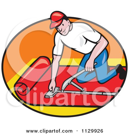 Clipart cartoon of a retro carpet layer worker in an oval for Cartoon carpet