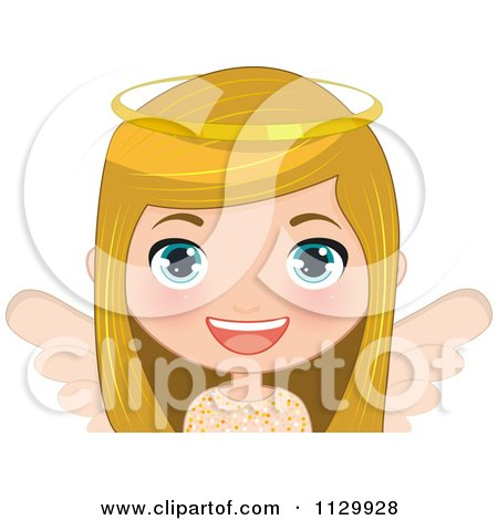 Cartoon Of A Blond Angel Christmas Girl 3 - Royalty Free Vector Clipart by Melisende Vector