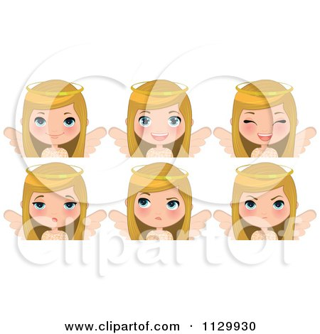 Cartoon Of A Blond Angel Christmas Girl With Different Expressions - Royalty Free Vector Clipart by Melisende Vector