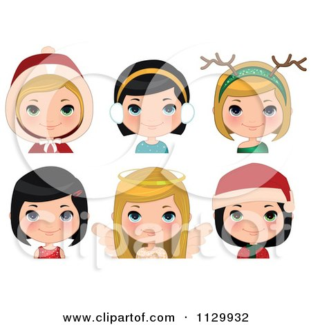 Cartoon Of Festive Christmas Girls - Royalty Free Vector Clipart by Melisende Vector