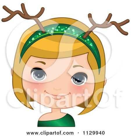 Cartoon Of A Blond Christmas Girl Wearing An Antler Head Band 2 - Royalty Free Vector Clipart by Melisende Vector