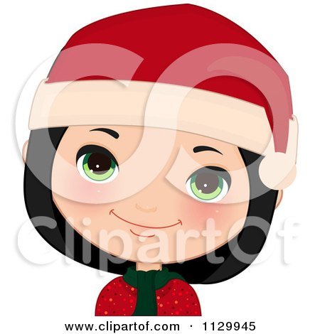 Cartoon Of A Happy Black Haired Christmas Girl Smiling And Wearing A Santa Hat 1 - Royalty Free Vector Clipart by Melisende Vector