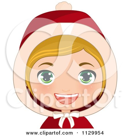Cartoon Of A Blond Haired Christmas Girl Smiling And Wearing A Hood 2 - Royalty Free Vector Clipart by Melisende Vector