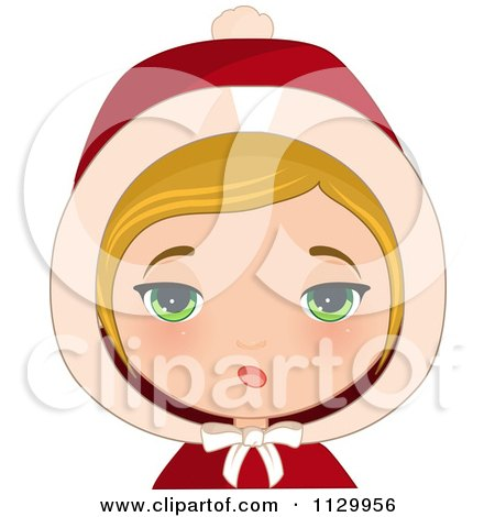 Cartoon Of An Annoyed Blond Haired Christmas Girl Wearing A Hood - Royalty Free Vector Clipart by Melisende Vector