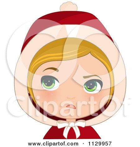 Cartoon Of A Skeptical Blond Haired Christmas Girl Wearing A Hood - Royalty Free Vector Clipart by Melisende Vector