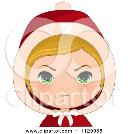 Cartoon Of A Mad Blond Haired Christmas Girl Wearing A Hood - Royalty Free Vector Clipart by Melisende Vector