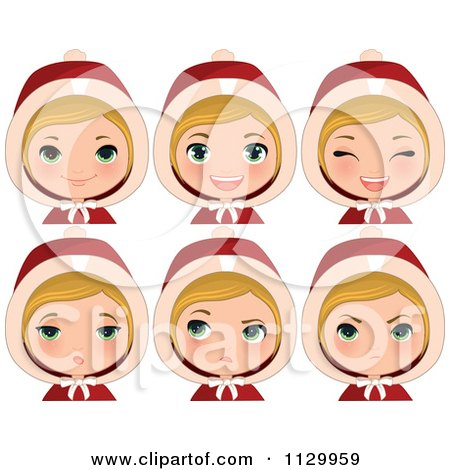 Cartoon Of A Blond Haired Christmas Girl Wearing A Hood With Different Expressions - Royalty Free Vector Clipart by Melisende Vector