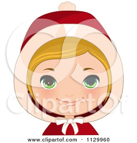 Cartoon Of A Blond Haired Christmas Girl Smiling And Wearing A Hood 1 - Royalty Free Vector Clipart by Melisende Vector
