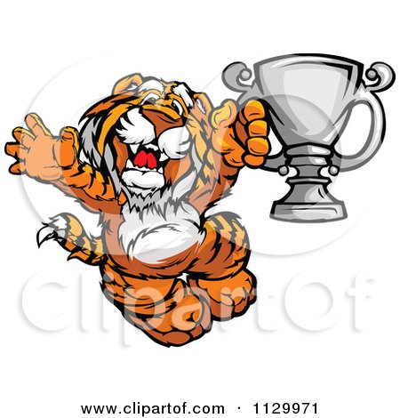 Cartoon Of A Cheering Tiger Champion Mascot Holding A Trophy - Royalty Free Vector Clipart by Chromaco