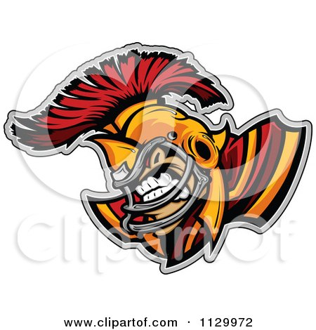 Cartoon Of An Aggressive Spartan Football Player Mascot - Royalty Free Vector Clipart by Chromaco