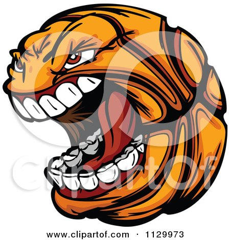 Cartoon Of A Screaming Basketball Mascot - Royalty Free Vector Clipart by Chromaco