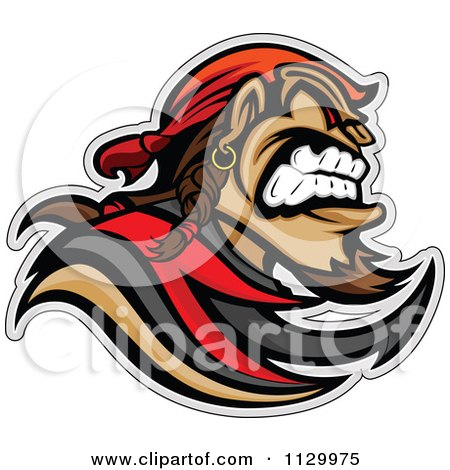 Cartoon Of An Aggressive Pirate Mascot - Royalty Free Vector Clipart by Chromaco