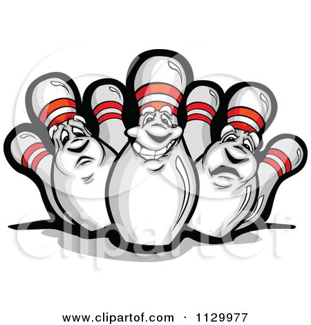 Cartoon Of Happy And Sad Bowling Pin Mascots - Royalty Free Vector Clipart by Chromaco