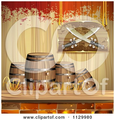 Clipart Of A Pirate Knife Sign Over Barrels Bricks Wood And Grunge - Royalty Free Vector Illustration by merlinul