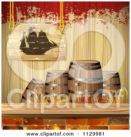 Clipart Of A Pirate Ship Sign Over Barrels Bricks Wood And Grunge - Royalty Free Vector Illustration by merlinul