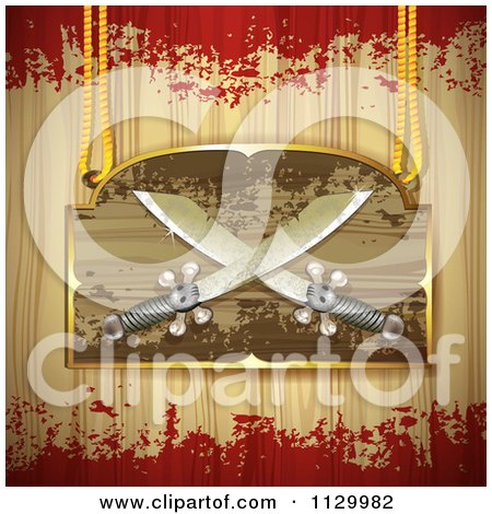 Clipart Of A Pirate Knife Sign On Wood With Grunge - Royalty Free Vector Illustration by merlinul