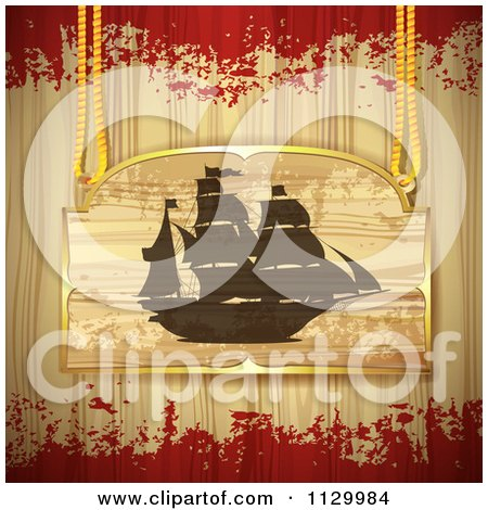 Clipart Of A Pirate Ship Sign On Wood With Grunge - Royalty Free Vector Illustration by merlinul