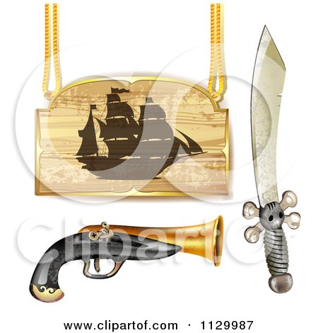 Clipart Of A Pirate Ship Sign With A Gun And Sword - Royalty Free Vector Illustration by merlinul