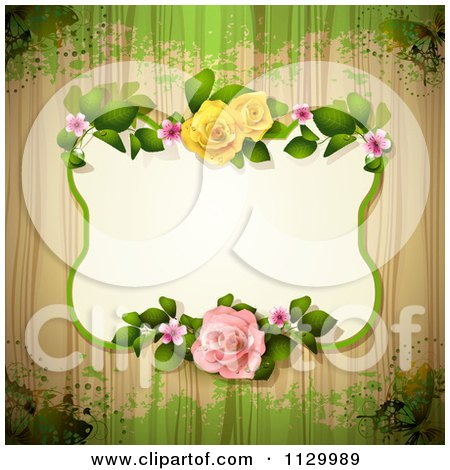 Clipart Of A Rose Flower Frame And Wood Background With Grunge 3 - Royalty Free Vector Illustration by merlinul