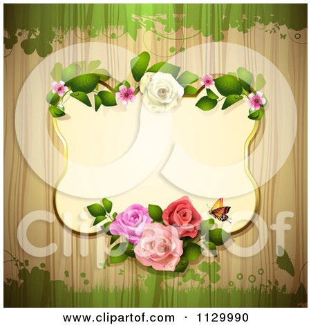 Clipart Of A Rose Flower Frame And Wood Background With Grunge 2 - Royalty Free Vector Illustration by merlinul