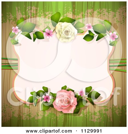 Clipart Of A Rose Flower Frame And Wood Background With Grunge 1 - Royalty Free Vector Illustration by merlinul