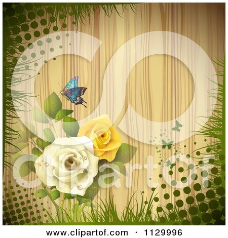 Clipart Of A Butterfly Rose Flower And Wood Background With Halftone - Royalty Free Vector Illustration by merlinul