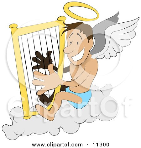 Male Angel With A Halo And Wings Sitting On A Cloud And Playing A Harp Clipart Illustration