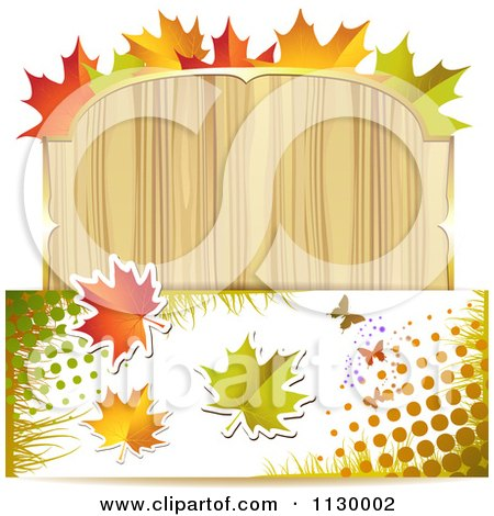Clipart Of A Background Of Autumn Leaves Halftone And A Wood Sign - Royalty Free Vector Illustration by merlinul