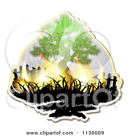 Clipart Of A Tree With Flames - Royalty Free Vector Illustration by merlinul