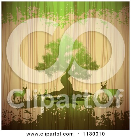 Clipart Of A Tree With Deer On Wood With Green Grunge - Royalty Free Vector Illustration by merlinul
