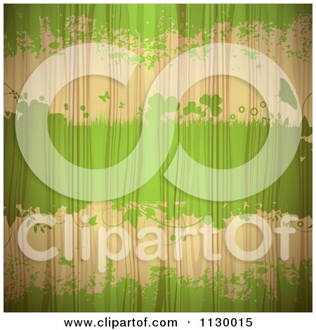 Clipart Of Green Grunge And Clovers On Wood Grain - Royalty Free Vector Illustration by merlinul