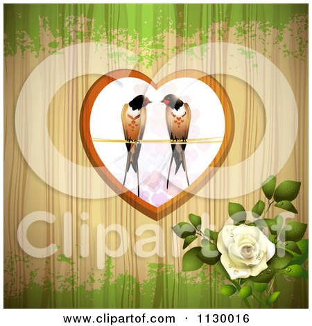 Clipart Of Love Birds In A Heart Over Wood With Grunge And A Rose - Royalty Free Vector Illustration by merlinul