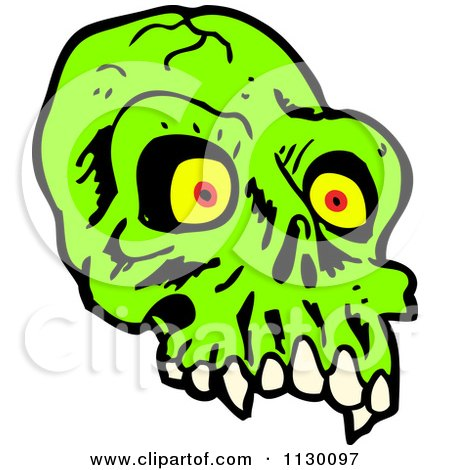 Cartoon Of A Green Alien Skull 1 - Royalty Free Vector Clipart by lineartestpilot