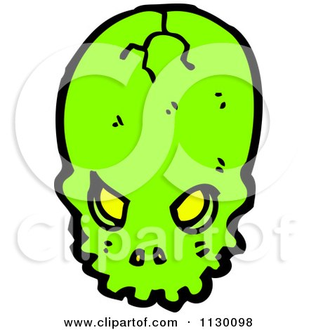 Cartoon Of A Cracked Green Skull - Royalty Free Vector Clipart by lineartestpilot