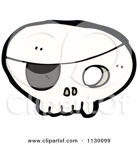 Cartoon Of A Pirate Skull 3 - Royalty Free Vector Clipart by lineartestpilot