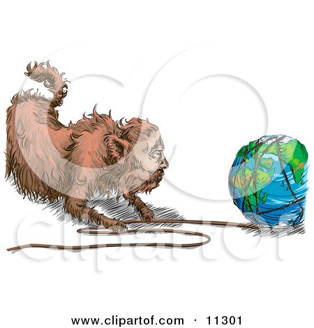 Fat Cat Pulling String Off of the World Clipart Picture by AtStockIllustration
