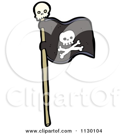 Cartoon Of A Black Jolly Roger Pirate Flag With Skull And Crossbones - Royalty Free Vector Clipart by lineartestpilot