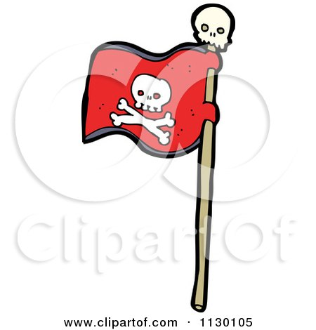 Cartoon Of A Red Jolly Roger Pirate Flag With Skull And Crossbones - Royalty Free Vector Clipart by lineartestpilot