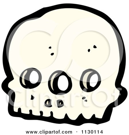 Cartoon Of An Alien Skull 5 - Royalty Free Vector Clipart by lineartestpilot