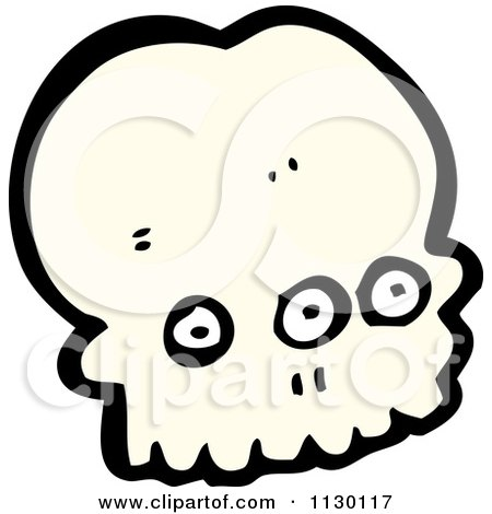 Cartoon Of An Alien Skull 4 - Royalty Free Vector Clipart by lineartestpilot