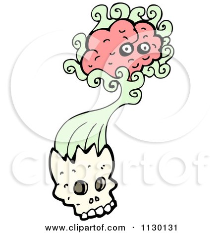Cartoon Of A Brain Bursting From A Skull 1 - Royalty Free Vector Clipart by lineartestpilot
