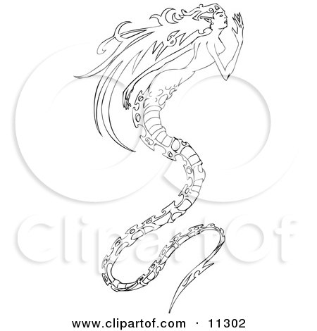 Long Haired Mermaid With A Long Spiny Dragon Like Tail Clipart Illustration