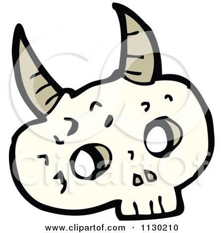 Cartoon Of An Alien Skull With Horns - Royalty Free Vector Clipart by lineartestpilot