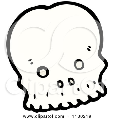 Cartoon Of A White Alien Skull - Royalty Free Vector Clipart by lineartestpilot