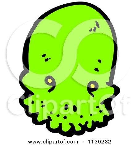 Cartoon Of A Green Alien Skull 2 - Royalty Free Vector Clipart by lineartestpilot
